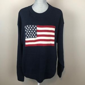 RedHead Vintage Navy Knit Sweater w American Flag